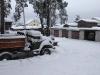 Вид со снежной горки рядом с пожарным водоёмом